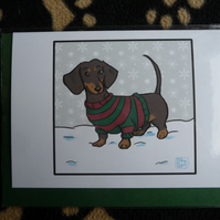Smooth Dachshund Christmas card