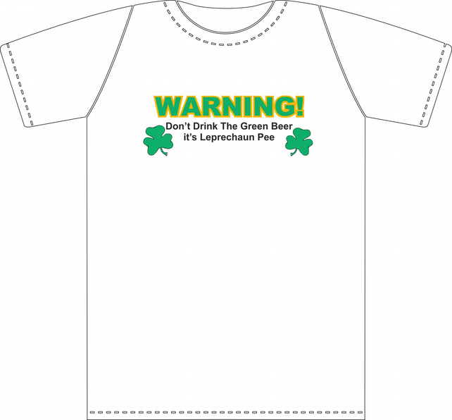 St. Patrick's Day WARNING GREEN BEER Tee Shirt