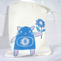 Fleur the Cat Drawstring Washbag/Toiletry/Make-up Bag (Blue)