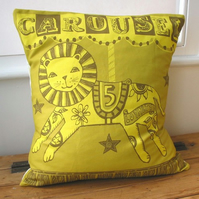 Handmade Fairground Carousel Merry-go-round cushion - Lion Design.