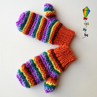Autumn Rainbow Pixie Mittens - Children's Mitten Childs' Glove Kids' Mitt