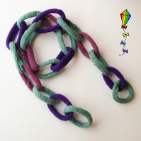 Chain Scarf for Kids - Damson - Purple Child's Scarf Chain Link Scarf Design