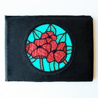 Poppy Keepsake Book - Poppies Memory Book or Guest Book - Stained Glass Design