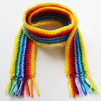 Yellow Rainbow Pixie Scarf - Rainbow Scarf for Kids - Winter Classic Kid's Scarf