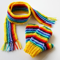 Yellow Rainbow Pixie Set of Scarf & Matching Mittens - Rainbow Children's Outfit