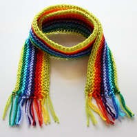 Lime Rainbow Pixie Scarf - Rainbow Childrens Scarf - Colourful Scarf for a Child