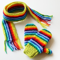 Lime Rainbow Pixie Set of Scarf and Matching Gloves - Rainbow Kids Mitts & Scarf