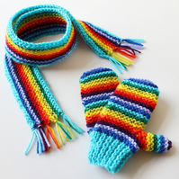 Turquoise Rainbow Pixie Set of Mittens and Matching Scarf - Scarf and Mittens