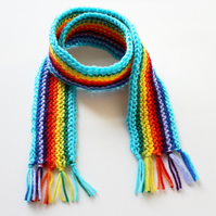 Turquoise Rainbow Pixie Scarf - Rainbow Kid's Scarf - Colourful Child's Scarf