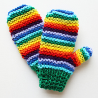 Green Rainbow Pixie Mittens - Childrens' Mittens in Green and Rainbow Colours