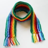 Green Rainbow Pixie Scarf - Rainbow Childs Scarf - Colourful Winter Kids Scarves