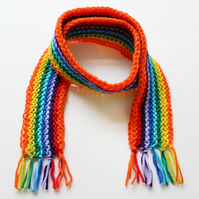 Orange Rainbow Pixie Scarf - Rainbow Child's Scarf - Knitted Classic Kid's Scarf