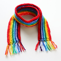 Red Rainbow Pixie Scarf - Rainbow Children's Scarf Classic Winter Scarf for Kids