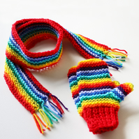 Red Rainbow Pixie Set of Mittens and Scarf - Rainbow Children's Winter Outfit