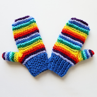 Blue Rainbow Pixie Mittens - Colourful Childs' Mittens - Blue & Rainbow Mittens