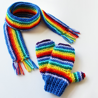 Blue Rainbow Pixie Set of Scarf and Gloves - Children's Rainbow Mittens & Scarf