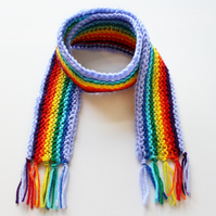 Mauve Rainbow Pixie Scarf - Rainbow Childrens' Scarf - Colourful Scarf for Child