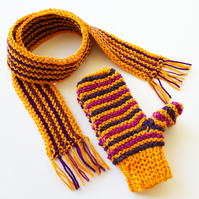 Christingle Orange Children's Gloves & Scarf - Kids' Orange Scarf & Mittens