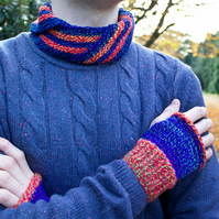 Blaze Nuzzler & Mitts Set - Gift for Man - Orange & Blue Unisex Cowl and Mittens