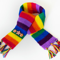 Stripy Rainbow Eco Scarf for Kids - Child's Colourful Scarf Upcycled Yarn Pieces