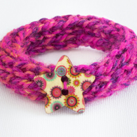 Summer Fruits Button Bangle - Knitted Bracelet Jewellery Stocking fillers