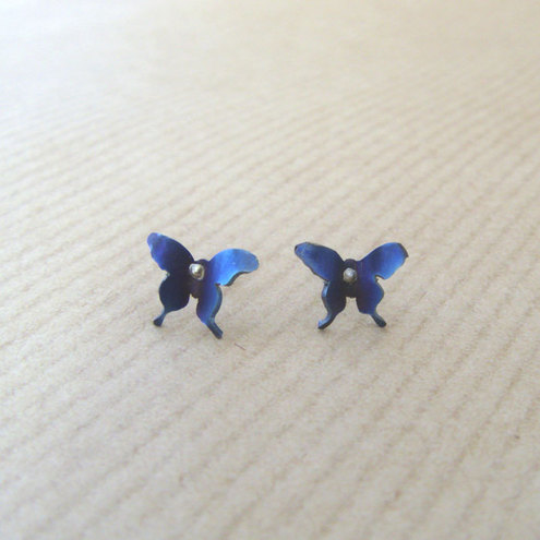 Pair of  titanium butterfly stud earrings