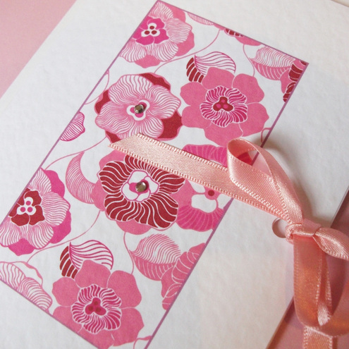'Pink daisy bow' card