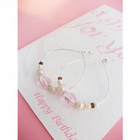 Earring card (pink & silver)