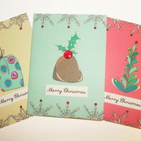 Pack of 3 handmade XMAS cards!