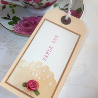 Vintage Rose Luggage Tag place & table name card