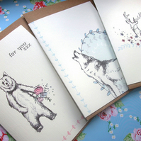 Pack Of 6 'Woodland' Cards