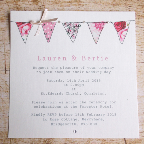 Pink Bunting wedding invitation Folksy