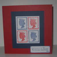 With Love Card with Queen stamps in red, white and blue