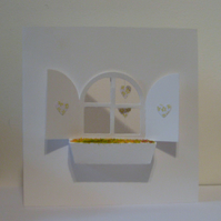 Window Box Card with Hanging Hearts (Yellow)