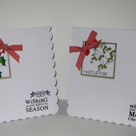 TWO Christmas Card Pack - Holly and Mistletoe