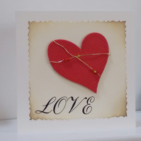 Wire Heart  Love Card