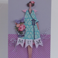 Mother's Day and Birthday Tilda Floral Card with Bunting