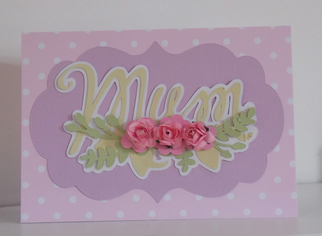 Card for Mum Pretty Floral and Polka Dot Card with Flowers