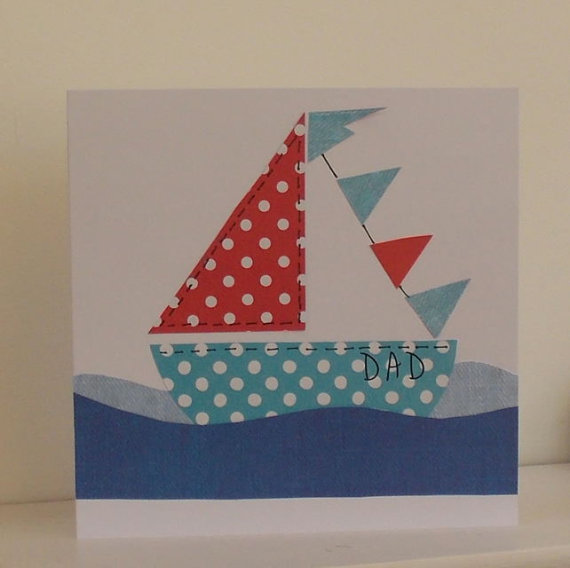 Paper Patchwork Sail Boat Card
