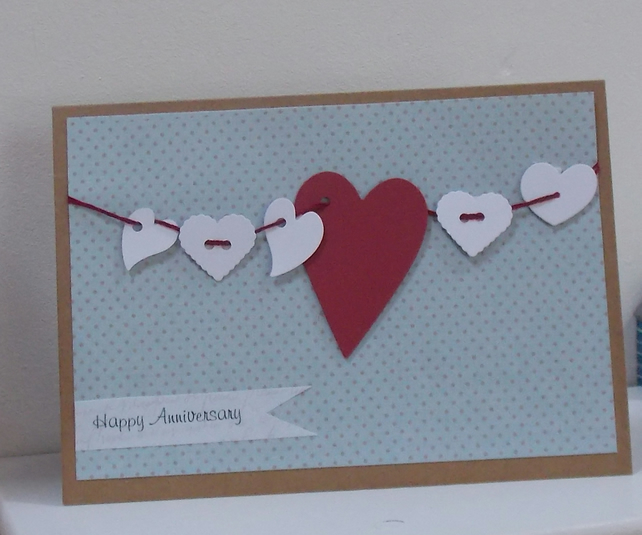 Hanging Heart Wedding Anniversary Card