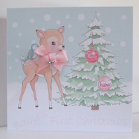 Baby Girl First Christmas Personalised Card