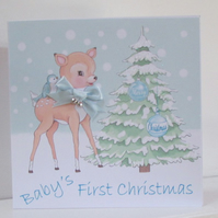 Baby Boy First Christmas Personalised Card