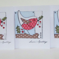 Paper Patchwork Robin Card - Set of 3