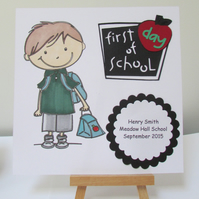 First Day At School Card - For a Boy