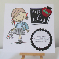 First Day At School Card - For a Girl