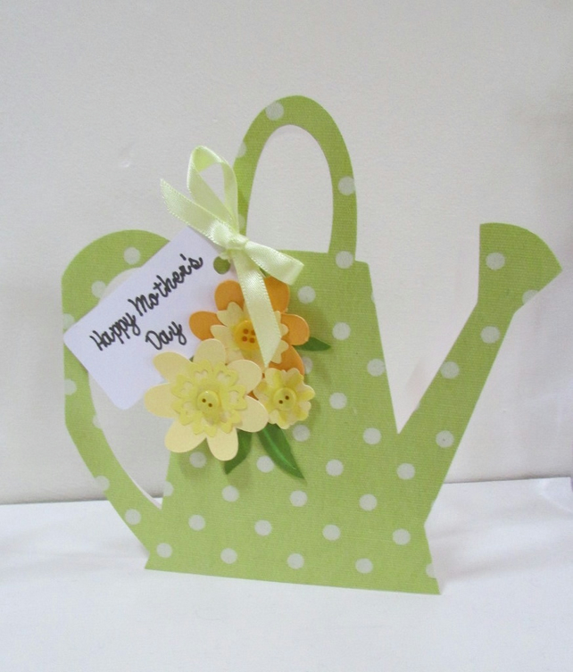Floral Watering Can Mothers Day Card