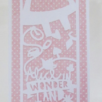 Alice in Wonderland Paper Cut Card