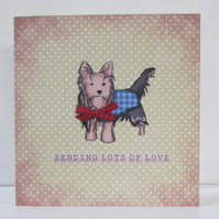 Tartan Terrier Sending Love Card