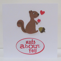 Squirrel Nuts About You Valentine's Card