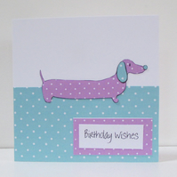 Dotty Daschund Sausage Dog Birthday Card